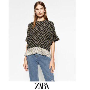 Zara | Printed frilled blouse
